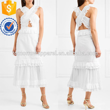 Branco sem mangas em camadas de babados de algodão vestido de verão midi manufatura atacado moda feminina vestuário (ta0023d)