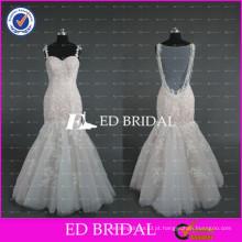 2017 ED Bridal Spaghetti Strap Beading Sheer Back Lace Appliqued Champagne Mermaid Wedding Dress