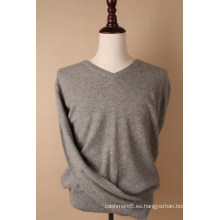 Jersey de cachemir gris con cuello en V para hombre