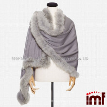 Cashmere And Fox Fur Trim Cape