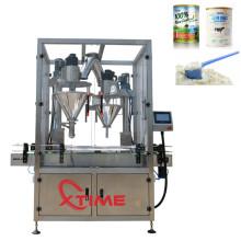 Máquina de embalagem e enchimento de pó para garrafas plásticas de vidro