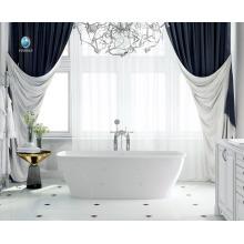 salle de bains de luxe conception résine matériau de pierre non-jaune intérieur trempage une personne bain chaud