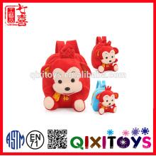 2016 nuevos niños bolso de escuela con mono en forma de juguete de peluche para niños backbag