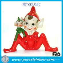 Figurine de sorcier drôle Elfe de Noël en résine rouge