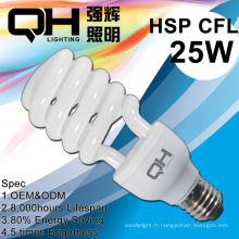 CFL verre Tube 25W en spirale, économiseur d'énergie, lampe fluorescente compacte
