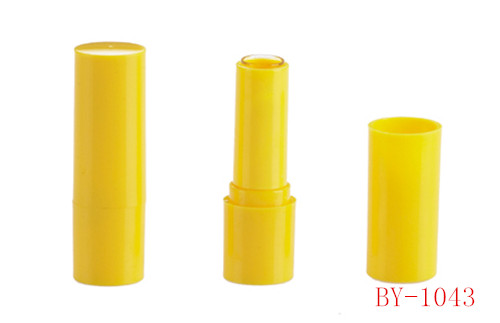 Tubo de lápiz labial amarillo vívido simple