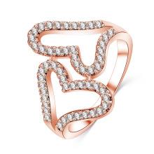 Double Heart CZ Diamond Mirco Pave Adjustable Open Ring (CRI1027)