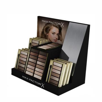 Expositor de cosméticos em papelão com design de maquiagens