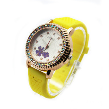 fashion ladies rose gold diamond watch