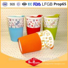 400ml decalque impressão caneca com luva de silicone e PS tampas para BS131125C