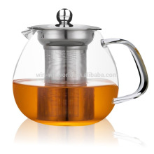 Heat resistant clear glass teapot with metal tea strainer 600ml