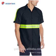 Gros marine / gris à manches courtes 2 pièces collier doublé sécurité renforcée réfléchissant haute visibilité bouton de sécurité vêtements de travail chemises