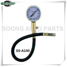 Clip-on Chuck Dial Type Tire Gauge, metal body with flexible hose