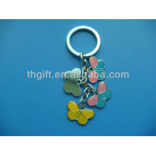 Butterfly design metal keychain/keyring with soft enamel