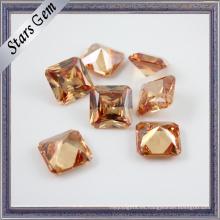 Cuadrado brillante del octágono de Champán princesa Cut CZ Stone