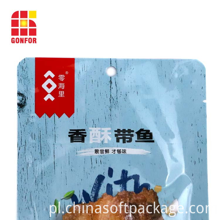 Custom Printed Doypack Pouch For Dried Fish Snack Packaging