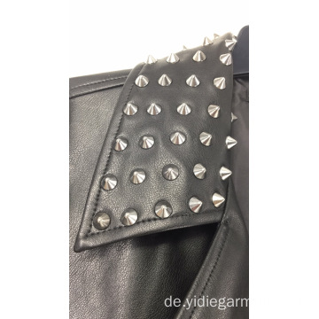 Ladies 'Punk Studded Kunstlederjacke