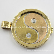 Aço inoxidável moeda disco flutuante Locket pingente jóias