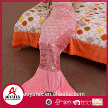 polyester new design gilding mermaid tail blanket for adults