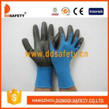 Blaues Nylon mit schwarzem Nitril-Handschuh-Dnn816