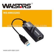 Adaptador USB 3.0 Gigabit Ethernet, rede Gigabit de extensão, instalação Plug-and-play