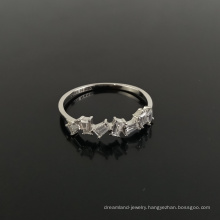 925 sterling silver rectangular cut diamond three-dimensional zircon wedding ring