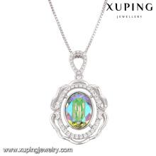 43090 cristales redondos de lujo de la moda de Swarovski rodio collar colgante de joyería de imitación