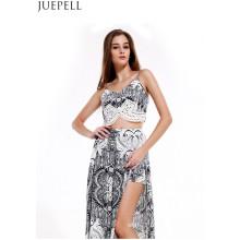 Europe Rétro D'été De Mode Imprimé Costume Femmes Sexy V-Cou Camisole Piece Split Culottes Robe
