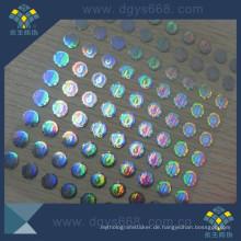 Hologramm Label Aufkleber mit Transparent Wash Aluminium-Effekt