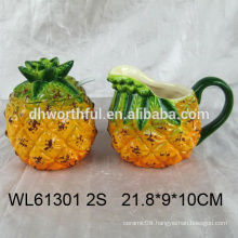 Ceramic pineapple sugar and creamer set with spoon for wholesale