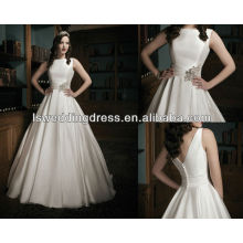 WD1037 gorgeous satin organza Sabrina neckline and a pleated cummerbund circular cut skirt weddingdress