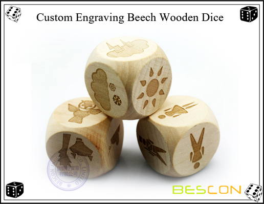 Custom Engraving Beech Wooden Dice