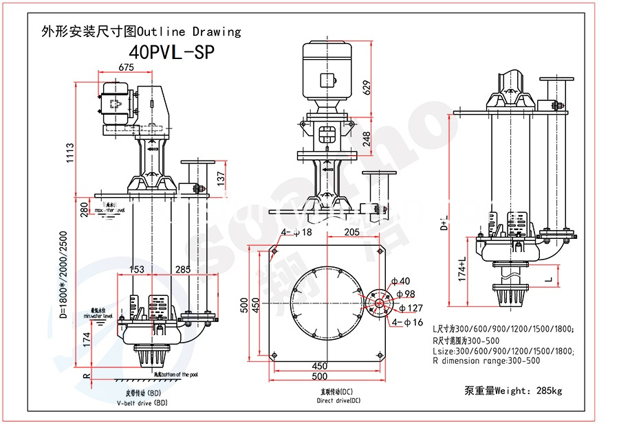 40mm Size Lengthen Sump Slurry Pump