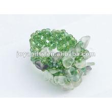 Purple Fluorite Chip Stone Stretch Seed Perles de verre Ring