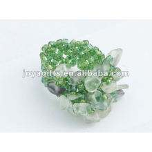 Purple Fluorite Chip pedra Stretch Seed Anel de contas de vidro
