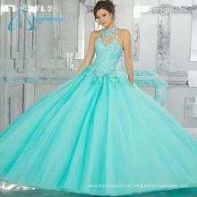 Rebordear cristal tul vestido de satén sexy vestido de quinceañera vestido
