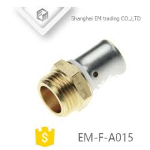 Encaixe de tubulação EM-F-A015 rosca macho e compressão adaptador de latão