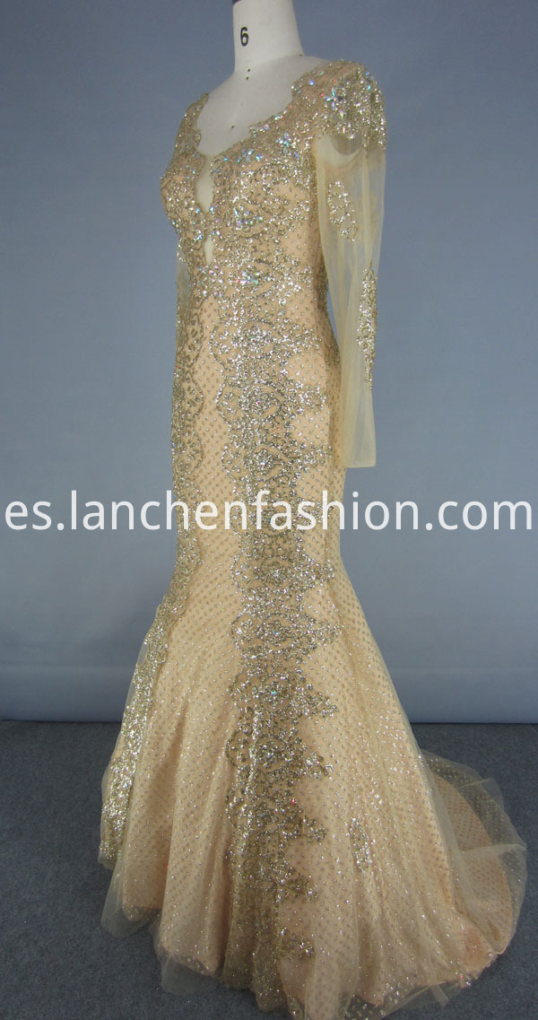 Gold Sequin Backless Dress