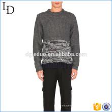 Two tone fashion men spandex pullover cashmere sweater