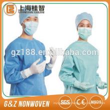 vestido cirúrgico não tecido descartável estéril dos sms dos spunbond de PP / SMS