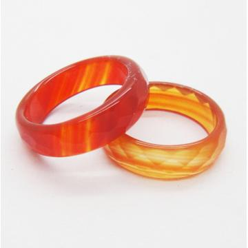Natural 6MM Red Carnelian Agate Gemstone Faceted Rings