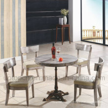 Modern Wooden Restaurant Furniture Set Includes Round Table with Cast Iron Leg (SP-CT697)