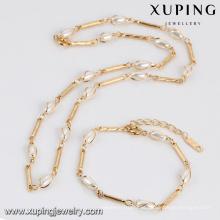 64067-Xuping Classical gift set jóias de natal neckalce & pulseira frisada