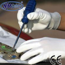 NMSAFETY white pu coated thin nylon safeguard gloves