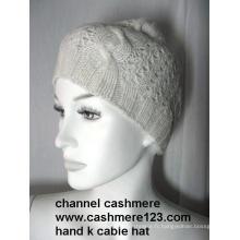 Chapeau en tricot à main en cachemire Ty0916