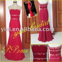 PP2359 тяжелых вышитый бисером Красный шифон Русалка вечернее платье 2013