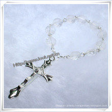 Transparent Glass Beads Finger Rosary with Cross (IO-CE005)