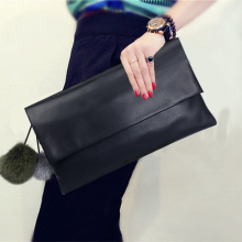 Elegance Lady Evening Black PU bolso de embrague