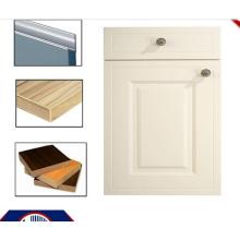 PVC MDF Puertas de gabinete de cocina con mango y banda de borde (zhuv)