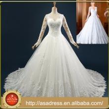 RASA-19 romántico mano hizo encaje vestido de novia Appliqued verdadera foto de manga completa botón de espalda vestido de novia de tren más tamaño